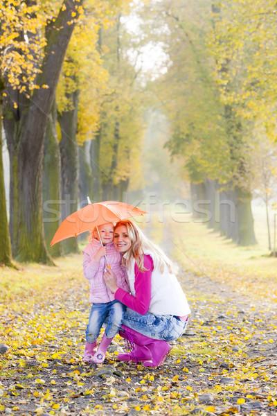 матери дочь зонтик аллеи женщину Сток-фото © phbcz