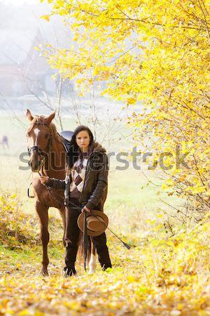 Lovas lóháton őszi természet nők ló Stock fotó © phbcz