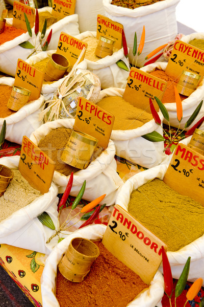 spices, street market in Castellane, Provence, France Stock photo © phbcz