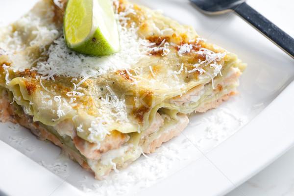 Spinaci lasagne salmone alimentare calce piatto Foto d'archivio © phbcz