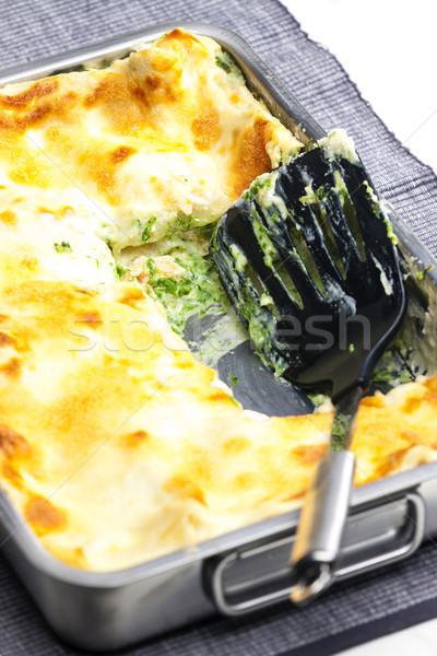 Foto d'archivio: Lasagne · salmone · spinaci · pesce · interni · pasto