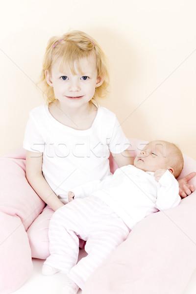 Portré kislány egy hónap öreg baba Stock fotó © phbcz