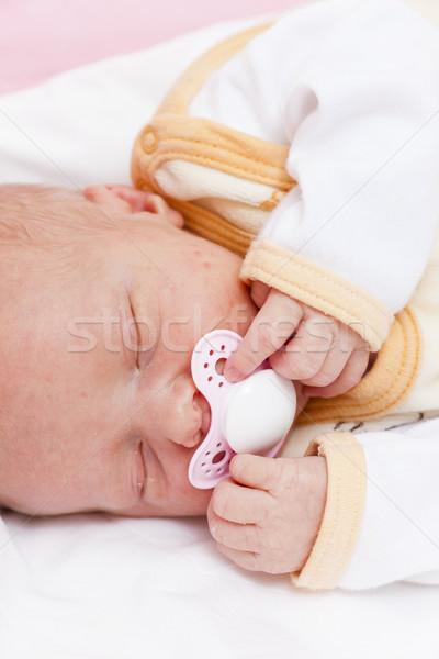 portrait of sleeping newborn baby girl Stock photo © phbcz