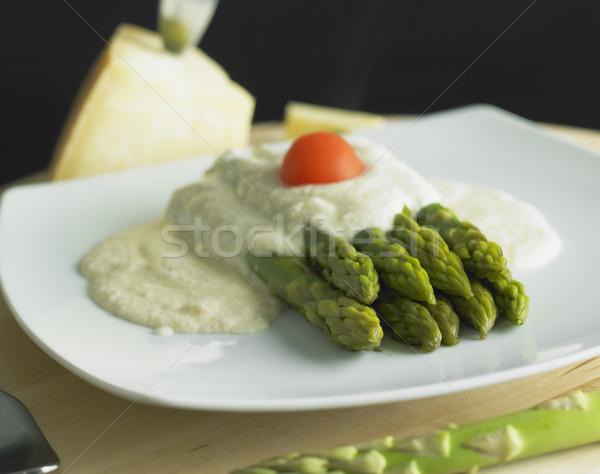 green aspargus with parmesan sauce Stock photo © phbcz