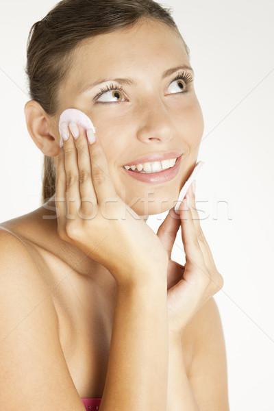 Portre genç kadın pamuk kadın el güzellik Stok fotoğraf © phbcz