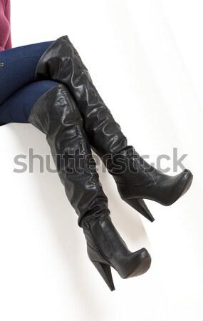 Részlet térdel nő visel latex ruházat Stock fotó © phbcz