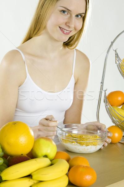 woman during breakfast Stock photo © phbcz
