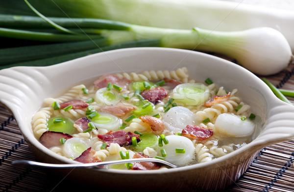 Puerro sopa alimentos salud hortalizas vegetales Foto stock © phbcz