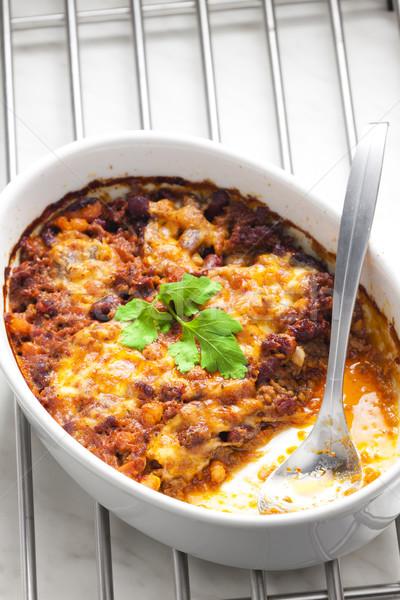 Gebakken Mexicaanse mengsel mozzarella vlees lepel Stockfoto © phbcz