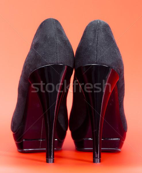 Vista posterior negro zapatos estilo objeto talones Foto stock © phbcz