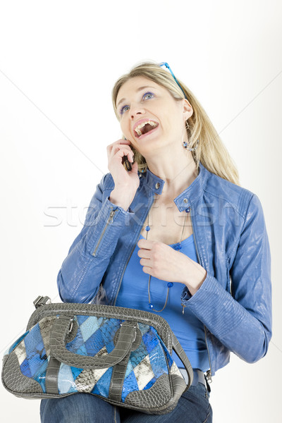 портрет сидят женщину мобильного телефона сумочка телефон Сток-фото © phbcz