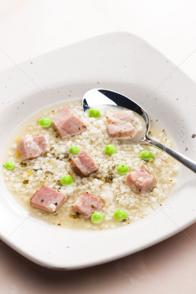 Stock photo: smoked meat bouillon with pearl barley and peas