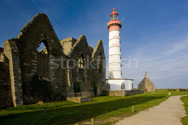 lighthouse and ruin of monastery, Pointe de Saint Mathieu, Britt Stock photo © phbcz