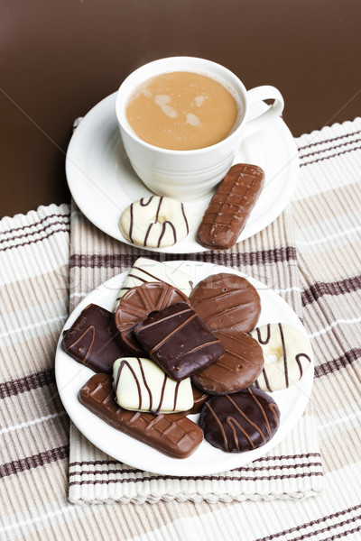 cup of coffee with chocolate biscuits Stock photo © phbcz