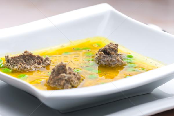 Fatto in casa fegato brodo di pollo carote piselli carne Foto d'archivio © phbcz