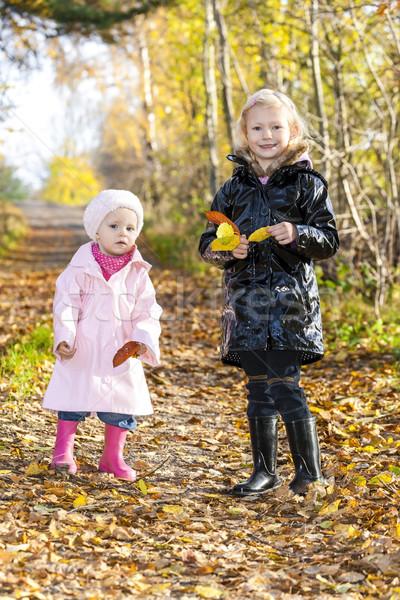 Kislányok visel gumicsizma őszi természet lány Stock fotó © phbcz
