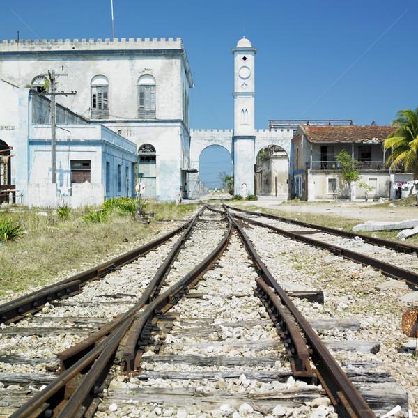 Stazione ferroviaria viaggio architettura trasporto brano line Foto d'archivio © phbcz