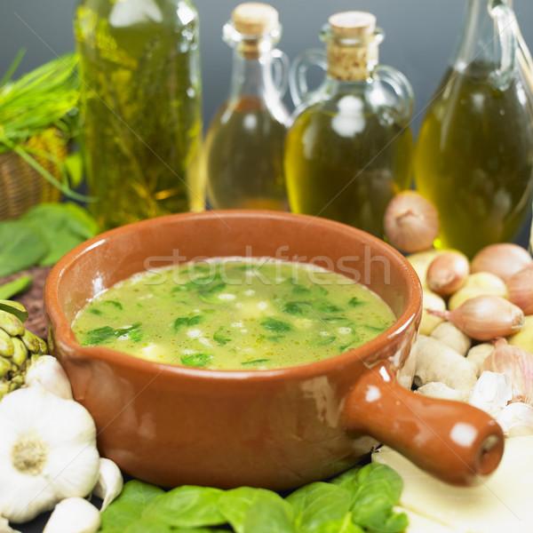 Сток-фото: суп · шпинат · продовольствие · растительное · блюдо · чеснока
