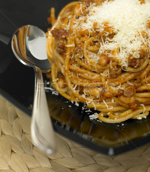 spaghetti with minced meat and beans Stock photo © phbcz