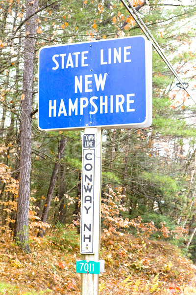 sign on the border of New Hampshire and Maine, USA Stock photo © phbcz