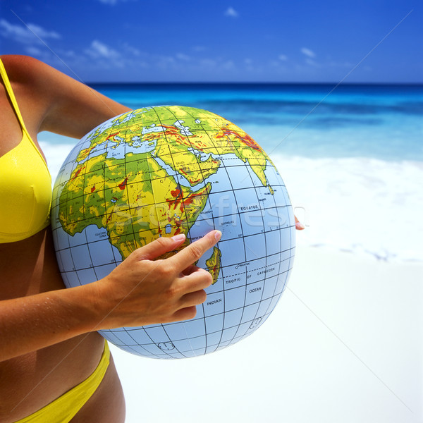 Ballon de plage main femmes bikini balle jouets Photo stock © phbcz