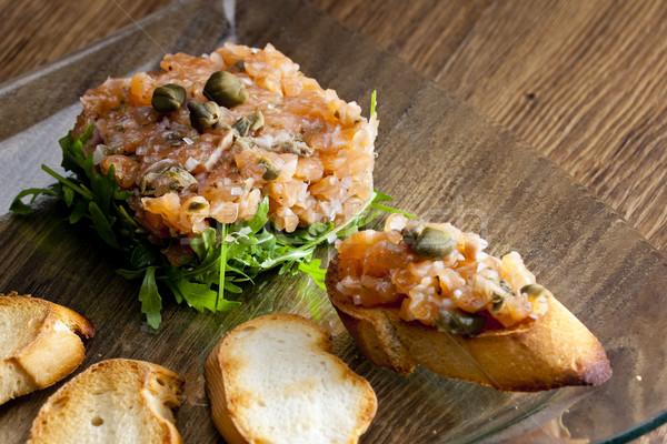 salmon tartar Stock photo © phbcz