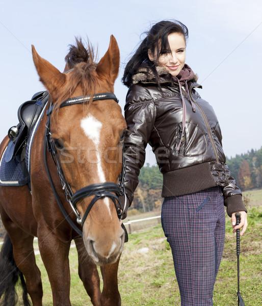 Portré lovas ló nők fiatal áll Stock fotó © phbcz
