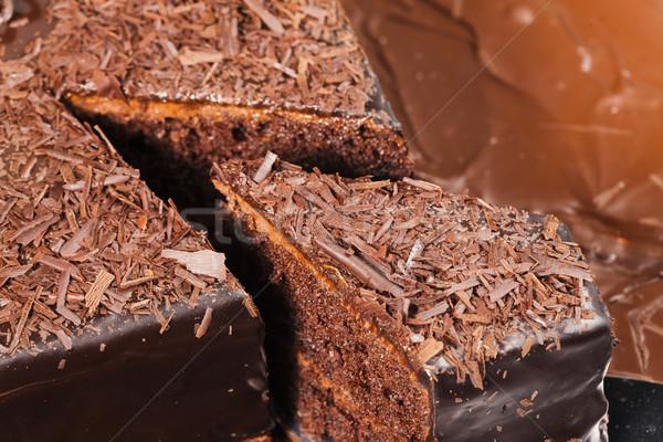 Csendélet csokoládés sütemény étel születésnap desszert édes Stock fotó © phbcz