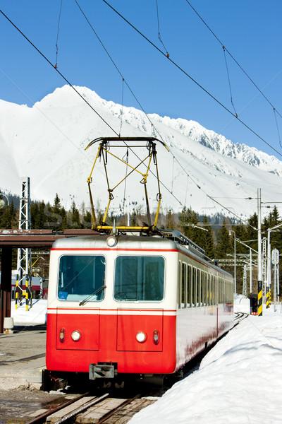 Voiture électrique gare élevé neige train montagnes Photo stock © phbcz
