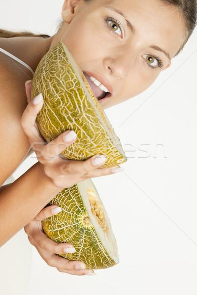Retrato mulher melão comida fruto frutas Foto stock © phbcz