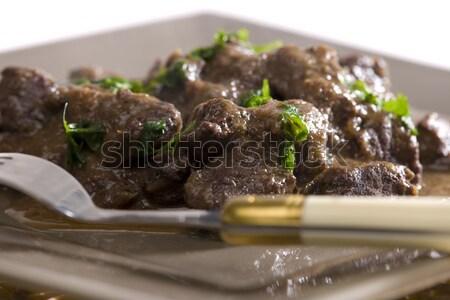 Vinho tinto comida carne garfo pratos placas Foto stock © phbcz