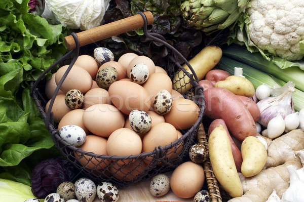 vegetables still life with eggs Stock photo © phbcz