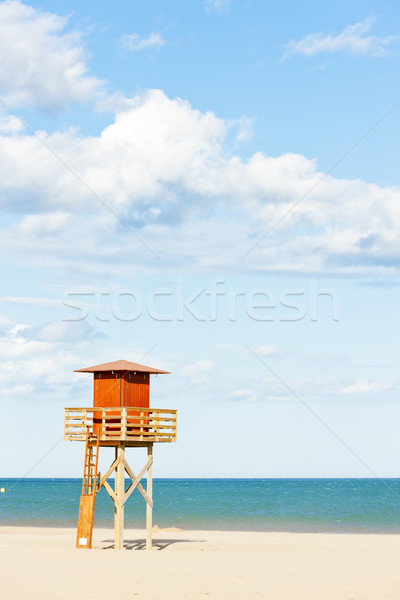 lifeguard cabin on the beach in Narbonne Plage, Languedoc-Roussi Stock photo © phbcz