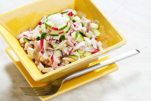 Tavuk salatası turp salatalık gıda çatal salata Stok fotoğraf © phbcz
