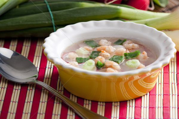 soup with radishes and prawns Stock photo © phbcz