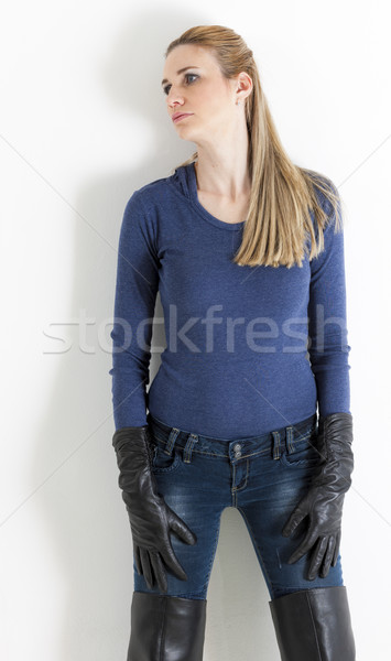 portrait of standing woman wearing jeans Stock photo © phbcz