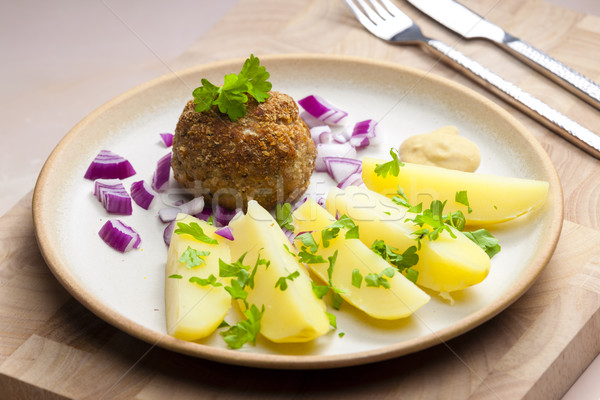 rissole with cooked potatoes Stock photo © phbcz