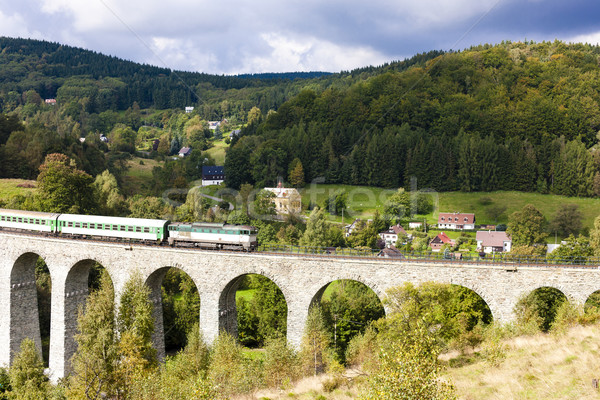 passenger train on viaduct Novina, Krystofovo Valley, Czech Repu Stock photo © phbcz