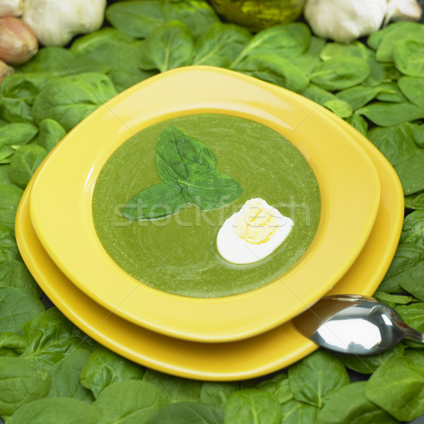 Room spinazie soep voedsel eieren lepel Stockfoto © phbcz