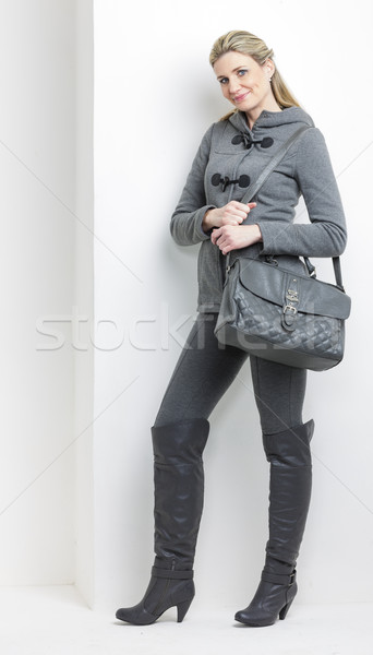 Mujer gris ropa bolso persona Foto stock © phbcz