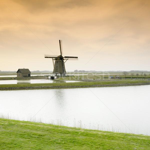 Moulin à vent île Pays-Bas Voyage Photo stock © phbcz