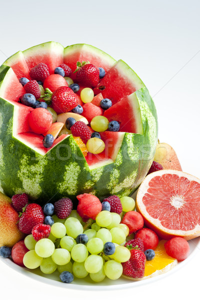 Salade de fruits eau melon alimentaire fruits fraise Photo stock © phbcz