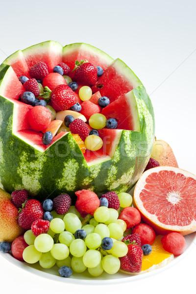 Macedonia di frutta acqua melone alimentare frutta fragola Foto d'archivio © phbcz