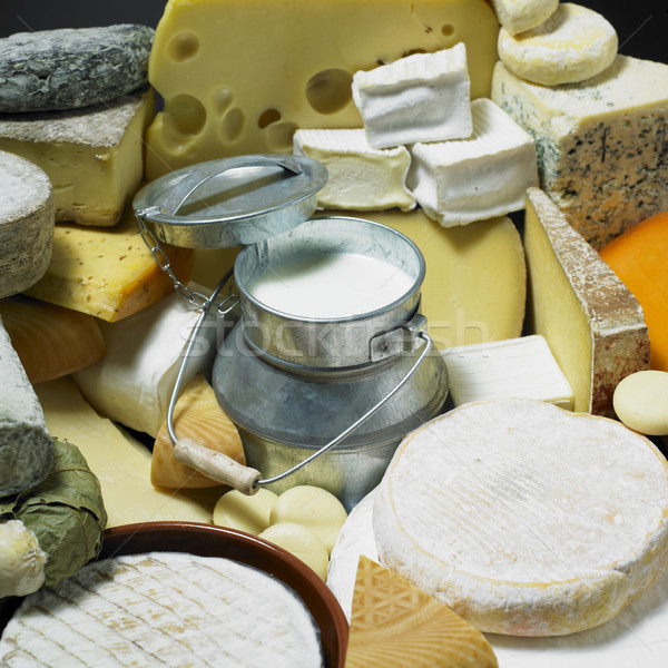 cheese still life with milk Stock photo © phbcz