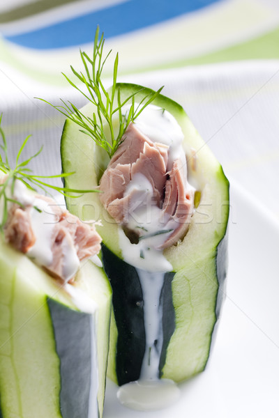 tuna salad in cucumber Stock photo © phbcz