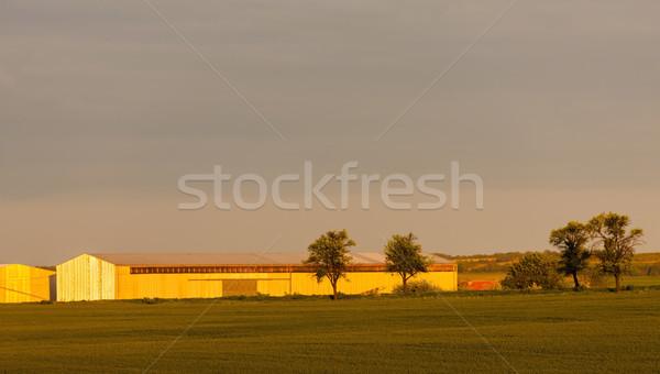 Paisagem árvores edifício pôr do sol República Checa Foto stock © phbcz