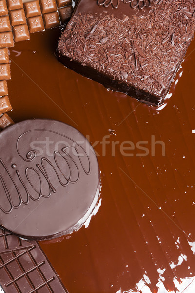 Stock photo: still life of chocolate with Wiener cake and chocolate cake
