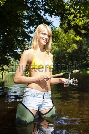 Femme pêche rivière République tchèque femmes été Photo stock © phbcz