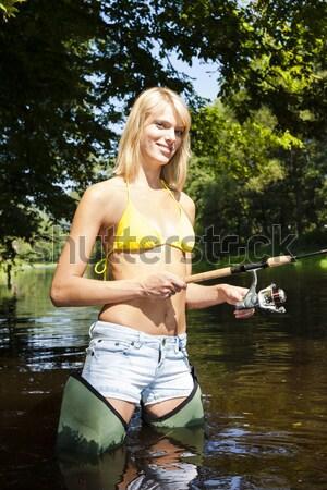 Vrouw vissen rivier Tsjechische Republiek vrouwen zomer Stockfoto © phbcz