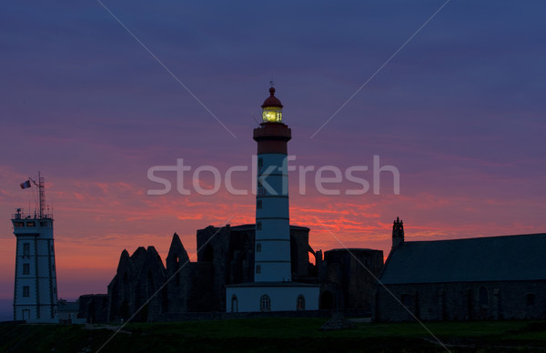 lighthouse and ruins of monastery, Pointe de Saint Mathieu, Brit Stock photo © phbcz